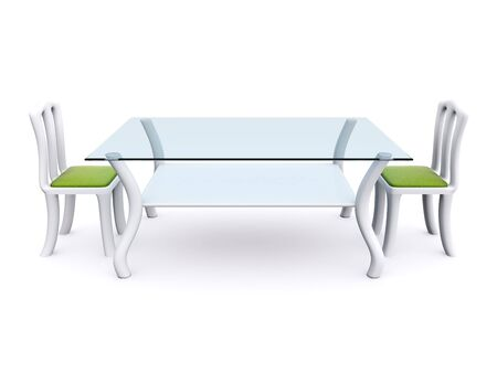 glass dining table with two chairs. 3d