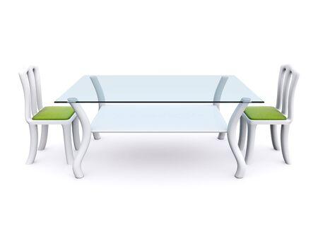 stół do jadalni — szkÅ'a z dwóch krzesÅ'a. 3D Zdjęcie Seryjne