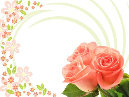 tree roses on floral background Stock Photo - 6406080