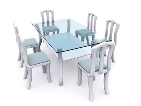 glass dining table with chairs. 3d Stock Photo - 6406082