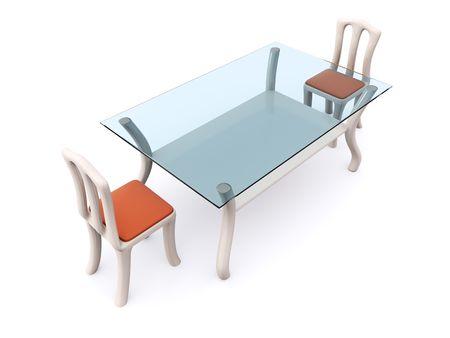 Mesa de comedor de vidrio con dos sillas. 3D Foto de archivo - 6406077