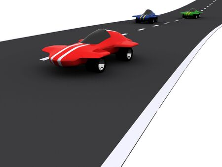 competition of abstract sport cars. 3d photo