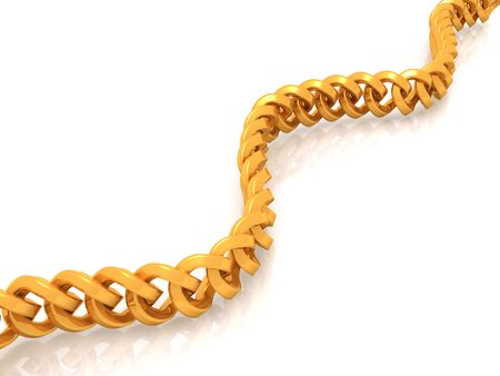 long precious chain with reflection. 3d photo