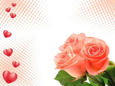 corazones: tree roses on hearts background