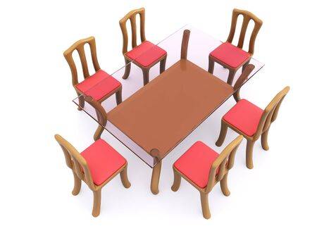 glass dining table with chairs. 3d Stock Photo - 6497100