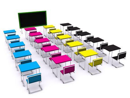 school desks with board. 3d photo