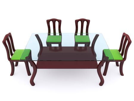 glass dining table with chairs. 3d Stock Photo - 6555887