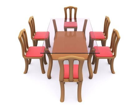 glass dining table with chairs. 3d Stock Photo - 6604100
