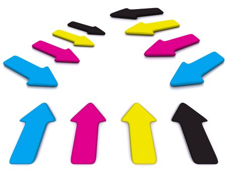 raytracing: set of CMYK pointers. 3d arrow Stock Photo