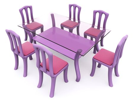 glass dining table with chairs. 3d Stock Photo - 6622993