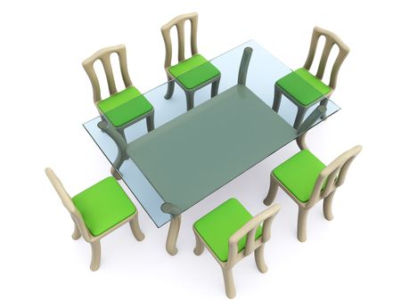 glass dining table with chairs. 3d Stock Photo - 6684935