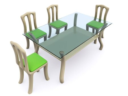 glass dining table with chairs. 3d Stock Photo - 6684934