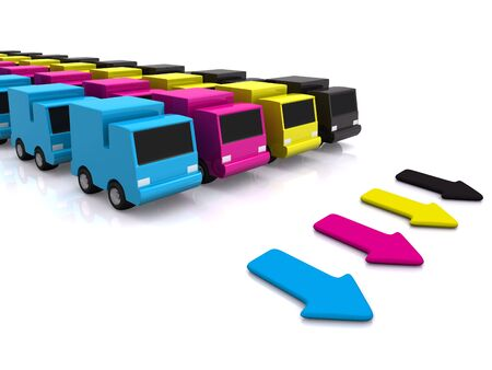 motorists: CMYK cars with arrows. 3D