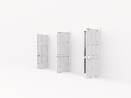 handle: three open doors. 3d on white Stock Photo
