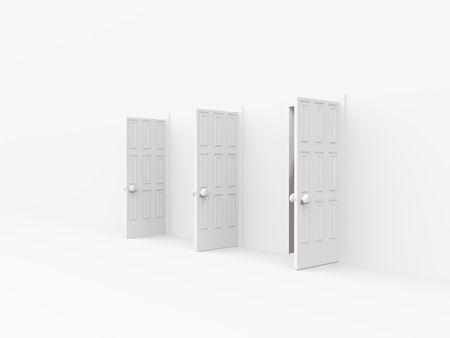 trzy otwarte drzwi. 3D na biały