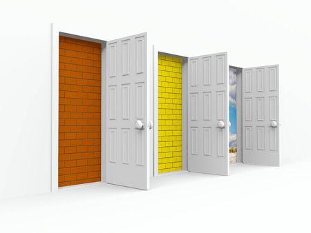 three open doors. 3d on white photo