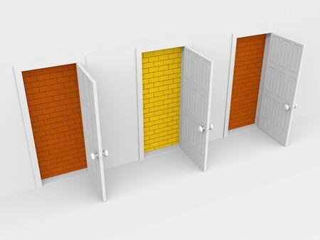 three open doors. 3d on white Stock Photo - 6708840