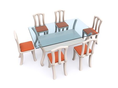 glass dining table with chairs. 3d Stock Photo - 6708863