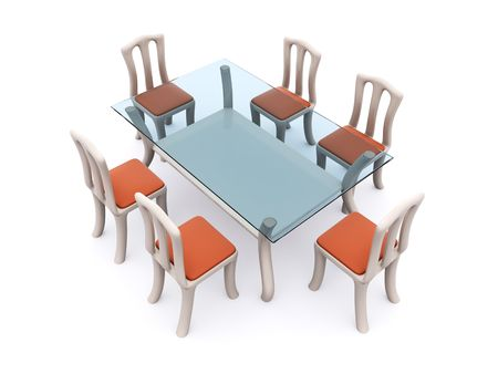 glass dining table with chairs. 3d Stock Photo - 6708844