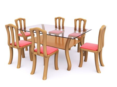 glass dining table with chairs. 3d Stock Photo - 6708837