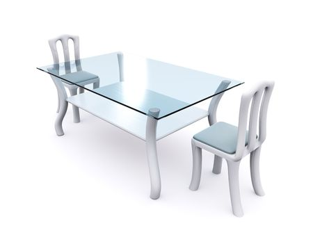 dining tables: glass dining table with two chairs. 3d
