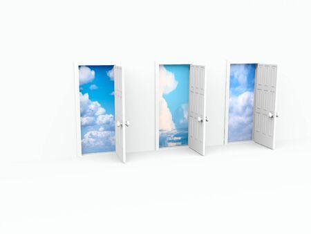 doorstep: open doors. 3d on white