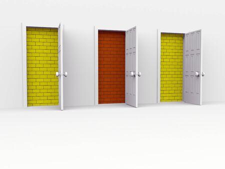open doors. 3d on white Stock Photo - 6847595