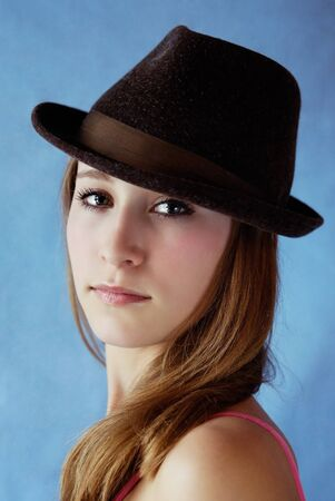 attractive girl in hat. portrait Stock Photo - 7035792