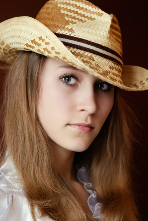 attractive girl in hat. portrait Stock Photo - 7035790