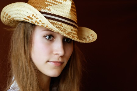 attractive girl in hat. portrait Stock Photo - 7035791