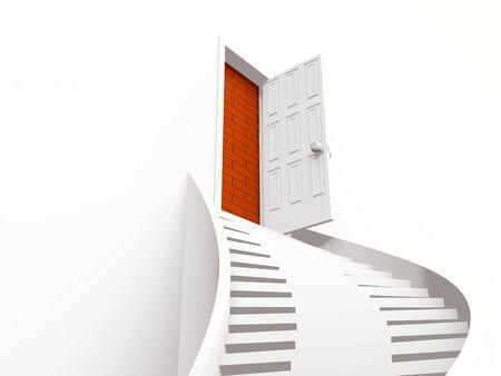 stair with open door. 3d Stock Photo - 7099263