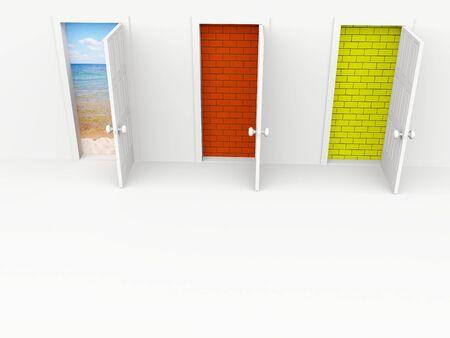 open doors. 3d on white photo