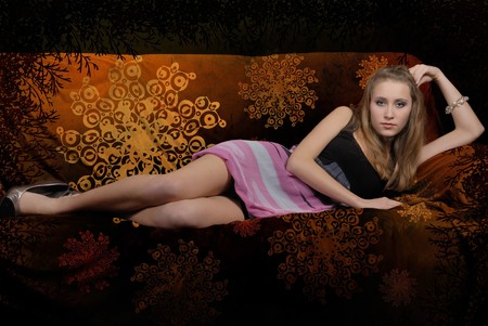 attractive girl on abstract background