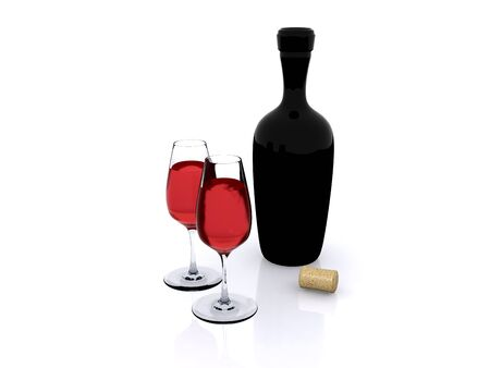 red wine in wineglasses with bottle Stock Photo - 7256023