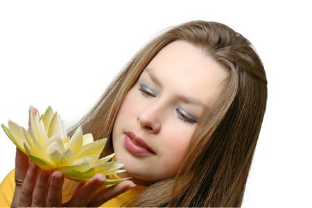 attractive girl with flower in hands Stock Photo - 7363149