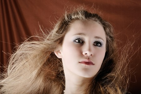 attractive girl with flowing hair photo