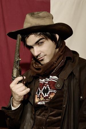 przystojny Chłopiec w ubrania kowboj