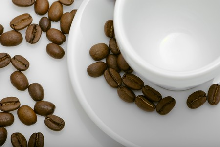 empty cup of coffee with coffee beans Stock Photo - 8065367
