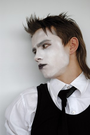 pensive dramatic mime actor. Close-up photo
