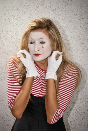dramatic mime actor . Close-up photo