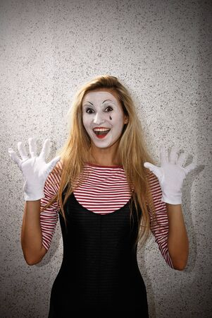 mime: happy dramatic mime actor . Close-up