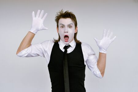 performers: dramatic mime actor . Close-up