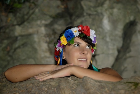 girl with a wreath in her hair photo