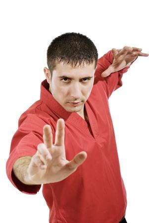 serious man in red kimono photo