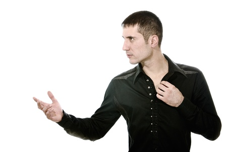 man with inviting gesture of hands photo