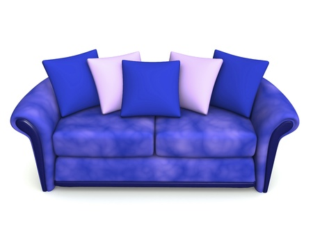 blue sofa with five squabs. 3d photo