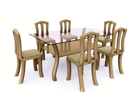 dining table and chairs: glass dining table with chairs. 3d