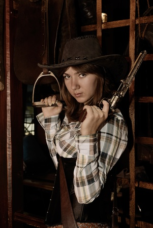 clothe: attractive girl in western style clothe