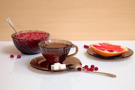 stillife: stillife with sandwich and tea Stock Photo