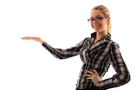 buisiness: attractive girl holding copyspace in hand. studio shot